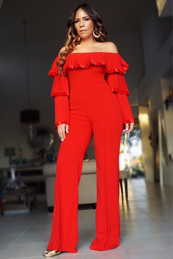 Chloe Evelyn Pleated Off Shoulder Top Long Sleeves Jumpsuit - Red