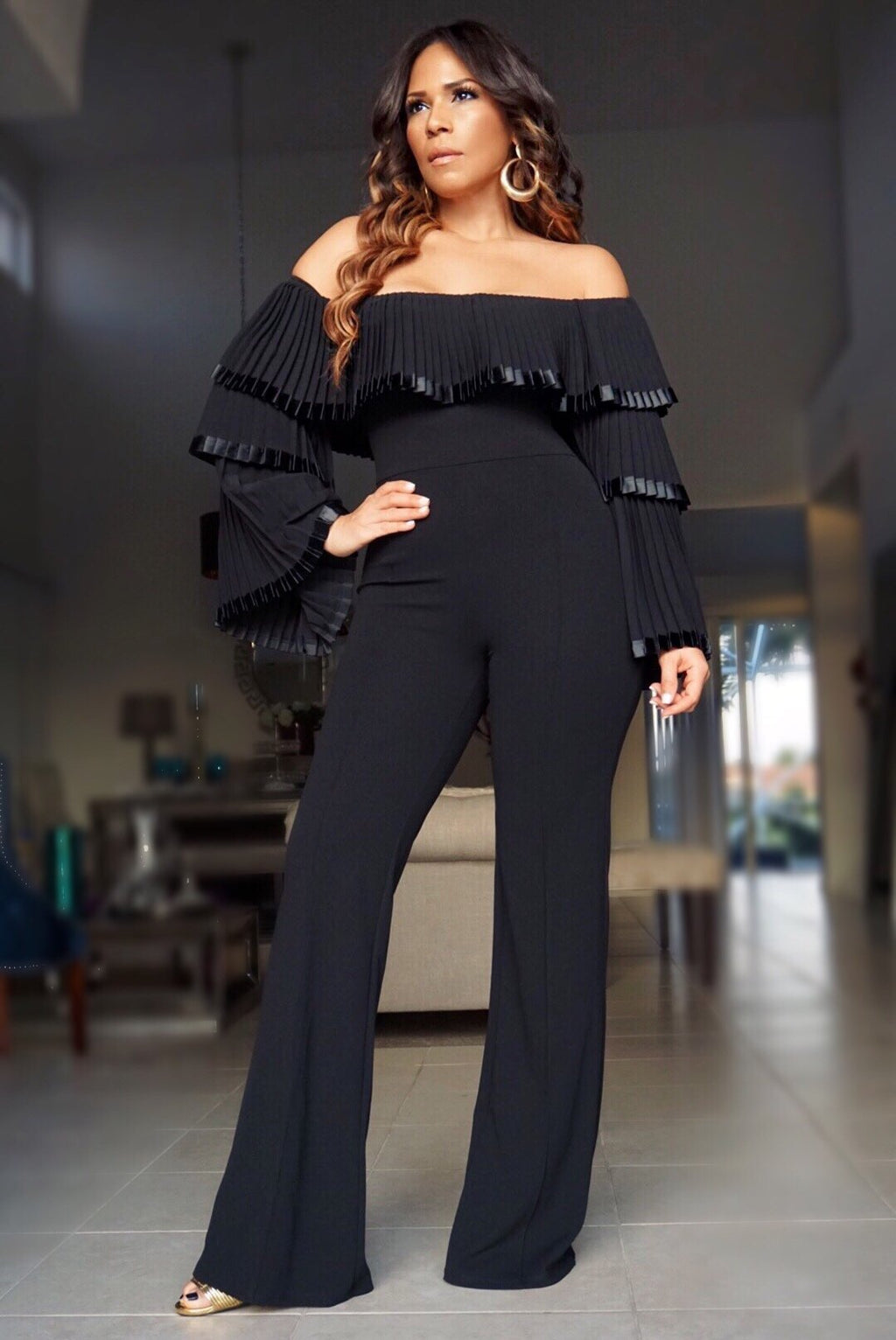 Chloe Pleated Off Shoulder Top Long Sleeves Jumpsuit - Black - MY SEXY STYLES