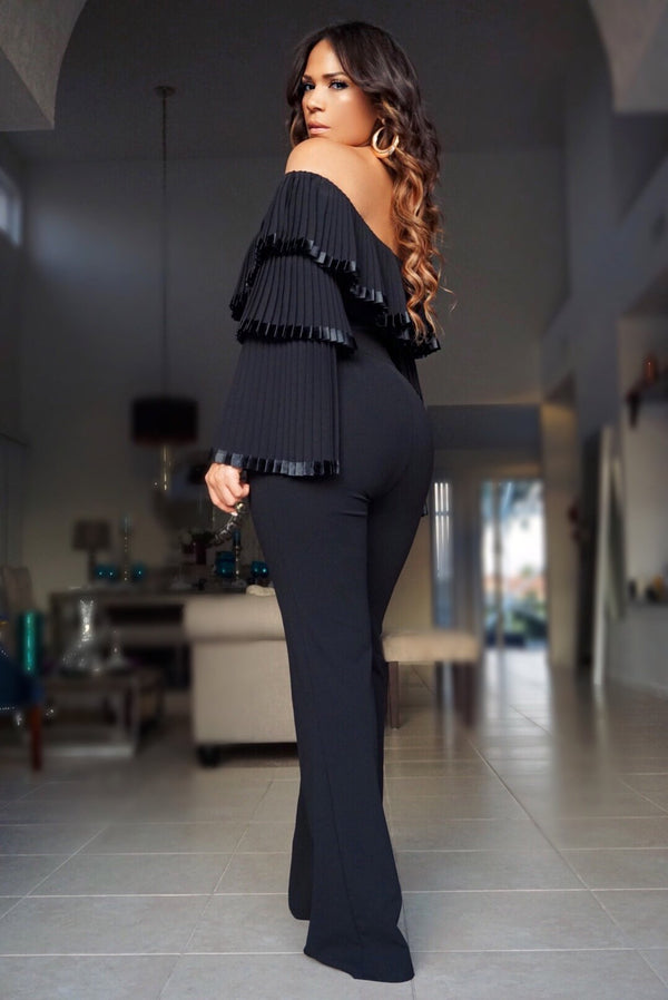 Chloe Pleated Off Shoulder Top Long Sleeves Jumpsuit - Black