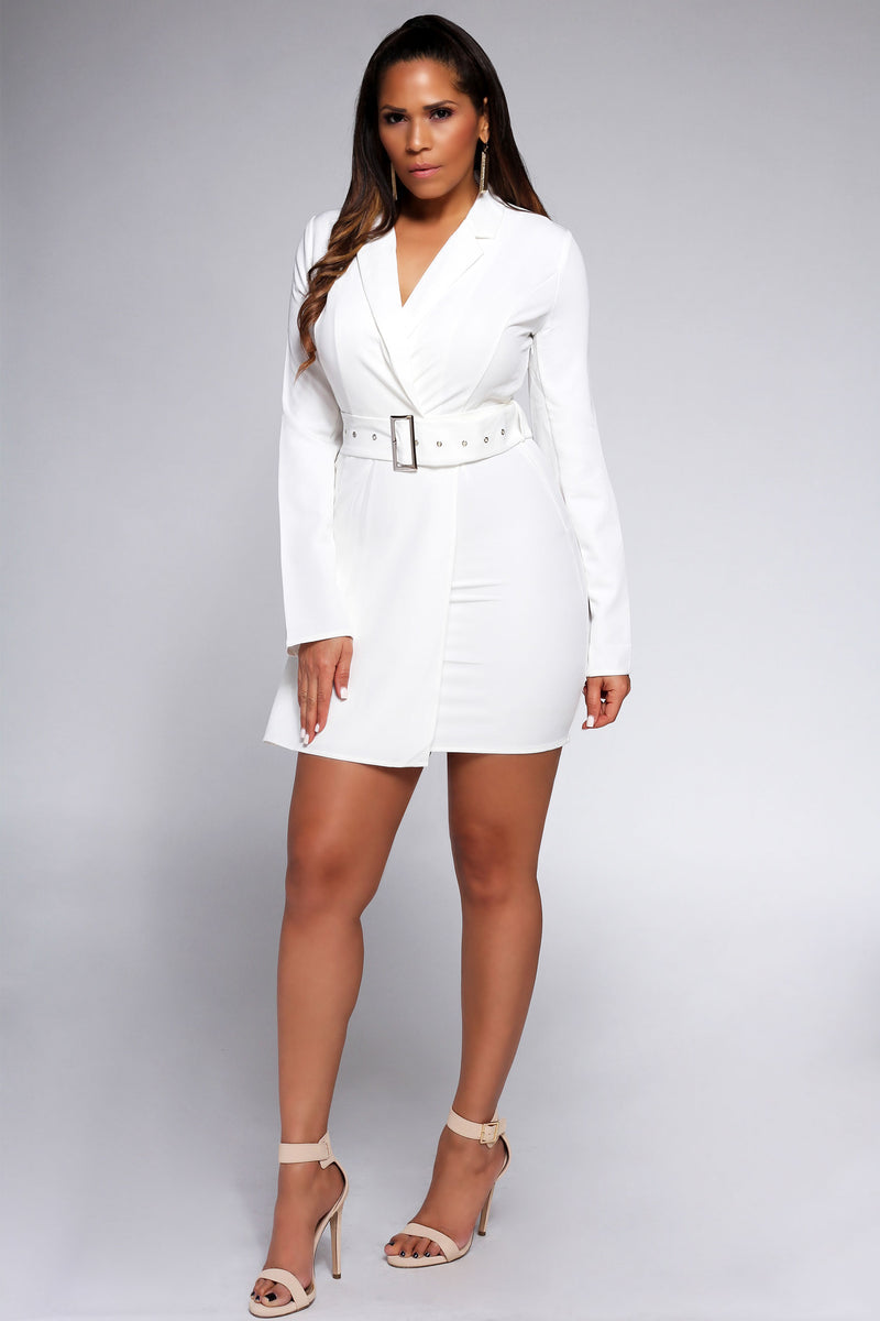 Clara Belted White Long Sleeves Belted Blazer Dress