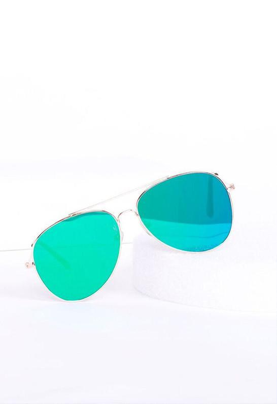 Classic Teardrop Full Metal Flash Mirrored Flat Lens Aviator Sunglasses - Green - MY SEXY STYLES  - 6