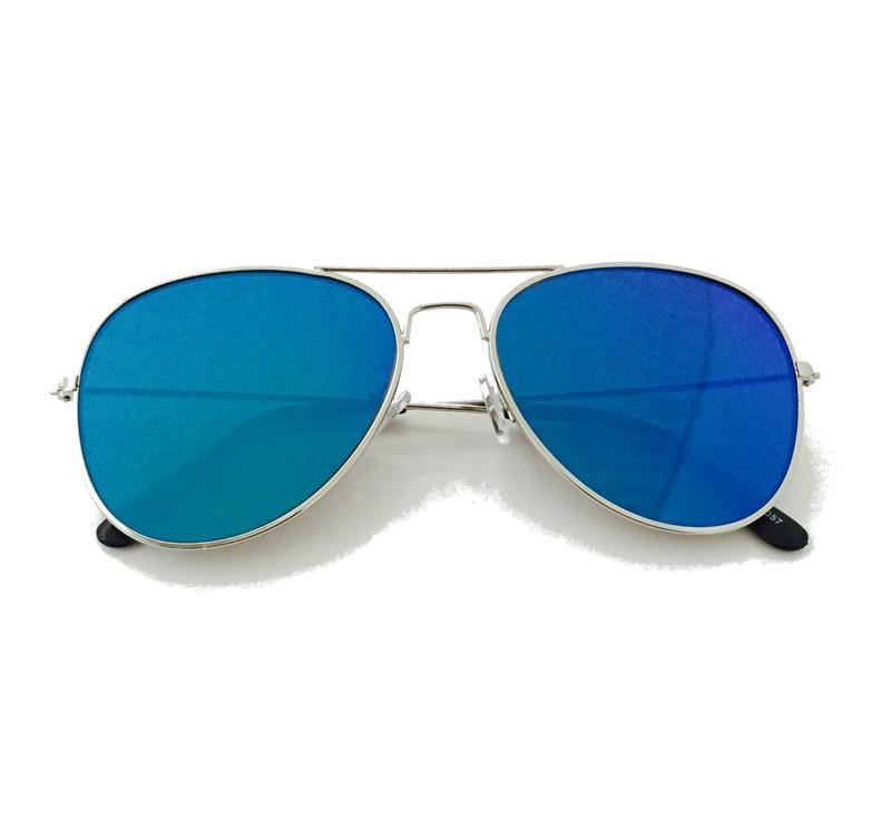 Classic Teardrop Full Metal Flash Mirrored Flat Lens Aviator Sunglasses - Blue - MY SEXY STYLES