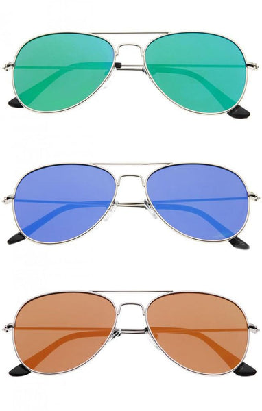 Classic Teardrop Full Metal Flash Mirrored Flat Lens Aviator Sunglasses - Green - MY SEXY STYLES  - 3