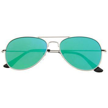 Classic Teardrop Full Metal Flash Mirrored Flat Lens Aviator Sunglasses - Green - MY SEXY STYLES  - 5