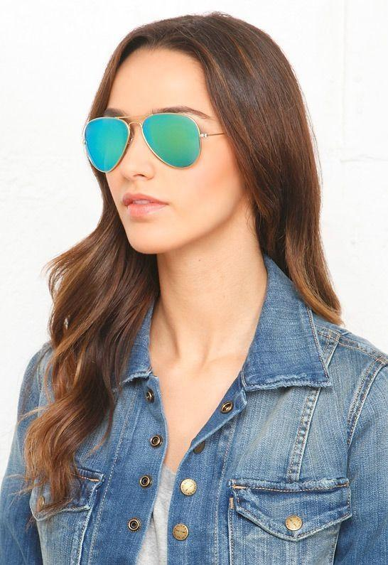 Classic Teardrop Full Metal Flash Mirrored Flat Lens Aviator Sunglasses - Green - MY SEXY STYLES  - 1