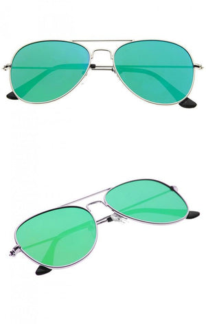 Classic Teardrop Full Metal Flash Mirrored Flat Lens Aviator Sunglasses - Green - MY SEXY STYLES