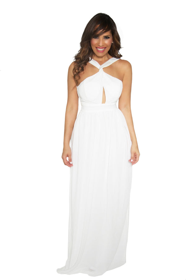 Classy Ivory Convertible Top Summer Maxi Dress - MY SEXY STYLES