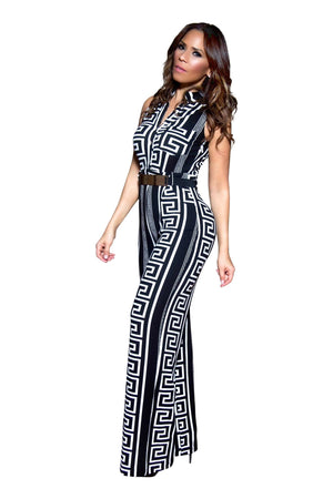 Gianni Classy Geometric Print Black and White Belted Cocktail Jumpsuit - MY SEXY STYLES
