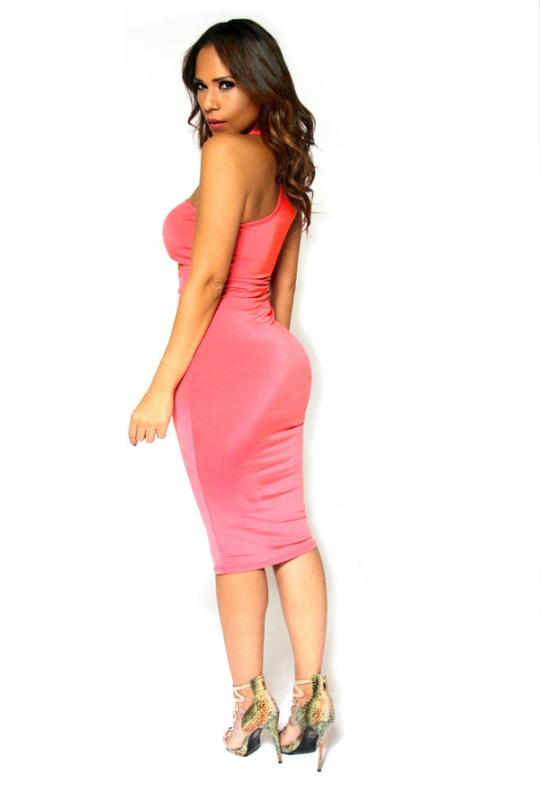Clubbing Coral Bodycon Midi Dress With Sexy Cutouts - MY SEXY STYLES  - 5