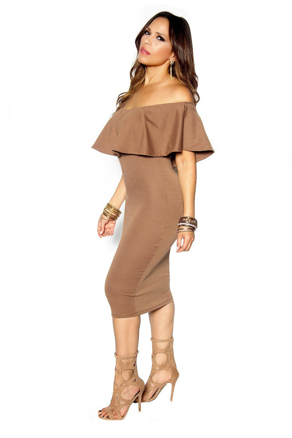Cocoa Bodycon Off Shoulder Ruffle Frill Midi Dress