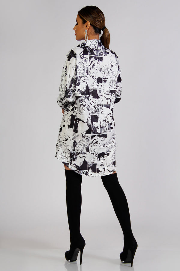 Cora Face Print Shirt Dress