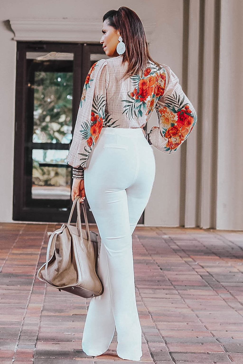 Cora Floral Print Long Bishop Sleeve Top