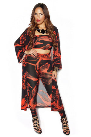Coral Abstract Print Three Piece Set - MY SEXY STYLES