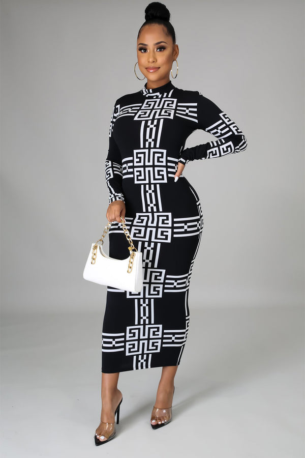Christina Aztec Print BodyCon Midi Dress