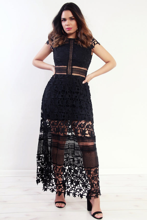 Crochet Lace Maxi High Low Dress in Black