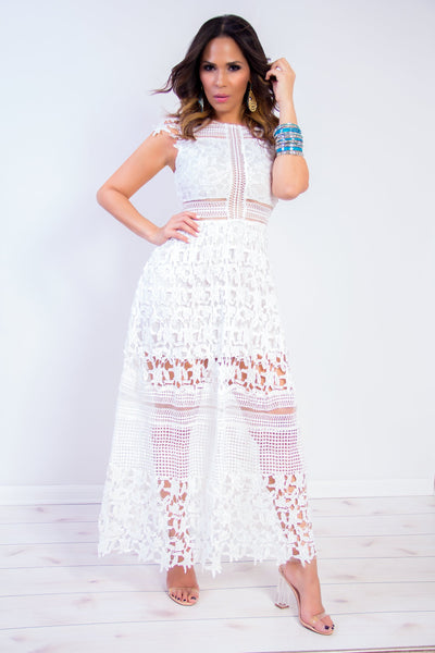 Crochet Lace Maxi High Low Dress in Ivory