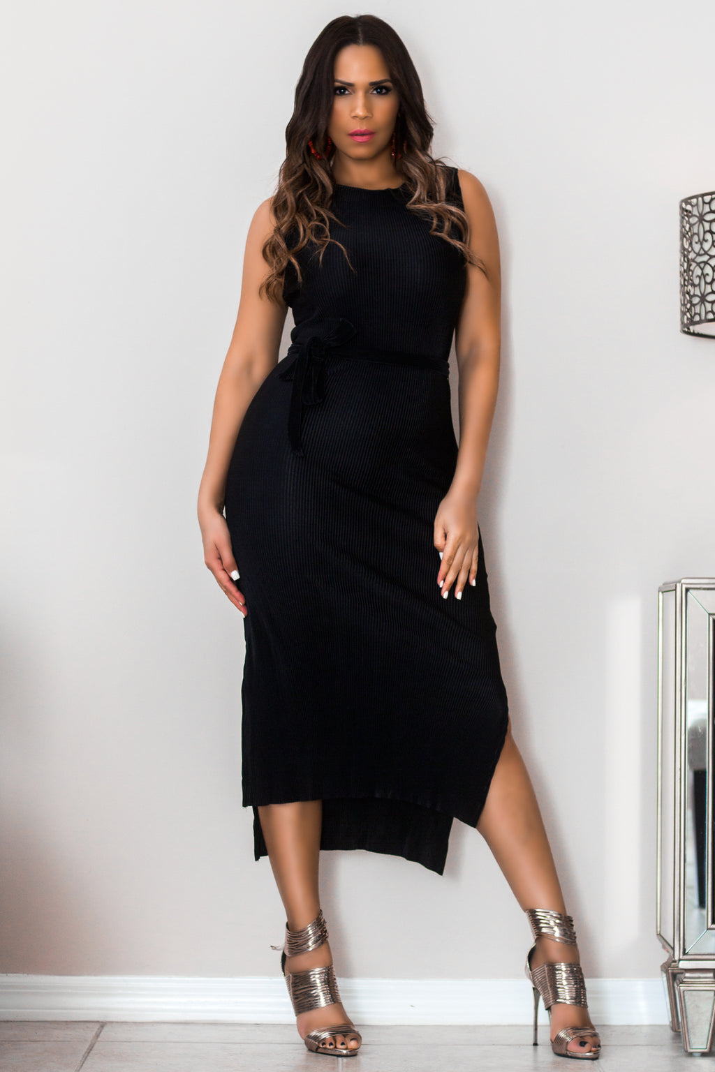 Dabney Black Pleated Dress W/ Waist Tie - MY SEXY STYLES