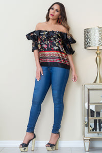 Dahianne Off The Shoulder Flower Print Blouse
