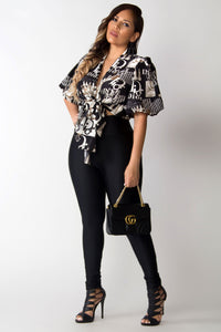 Dahlia Designer Inspired Print Lantern Sleeves Tied Blouse
