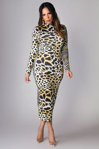 Daisy Reversible Long Sleeves Animal Print Midi Dress