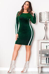 Daleyza Striped Green Glitter Bodycon Mini Dress