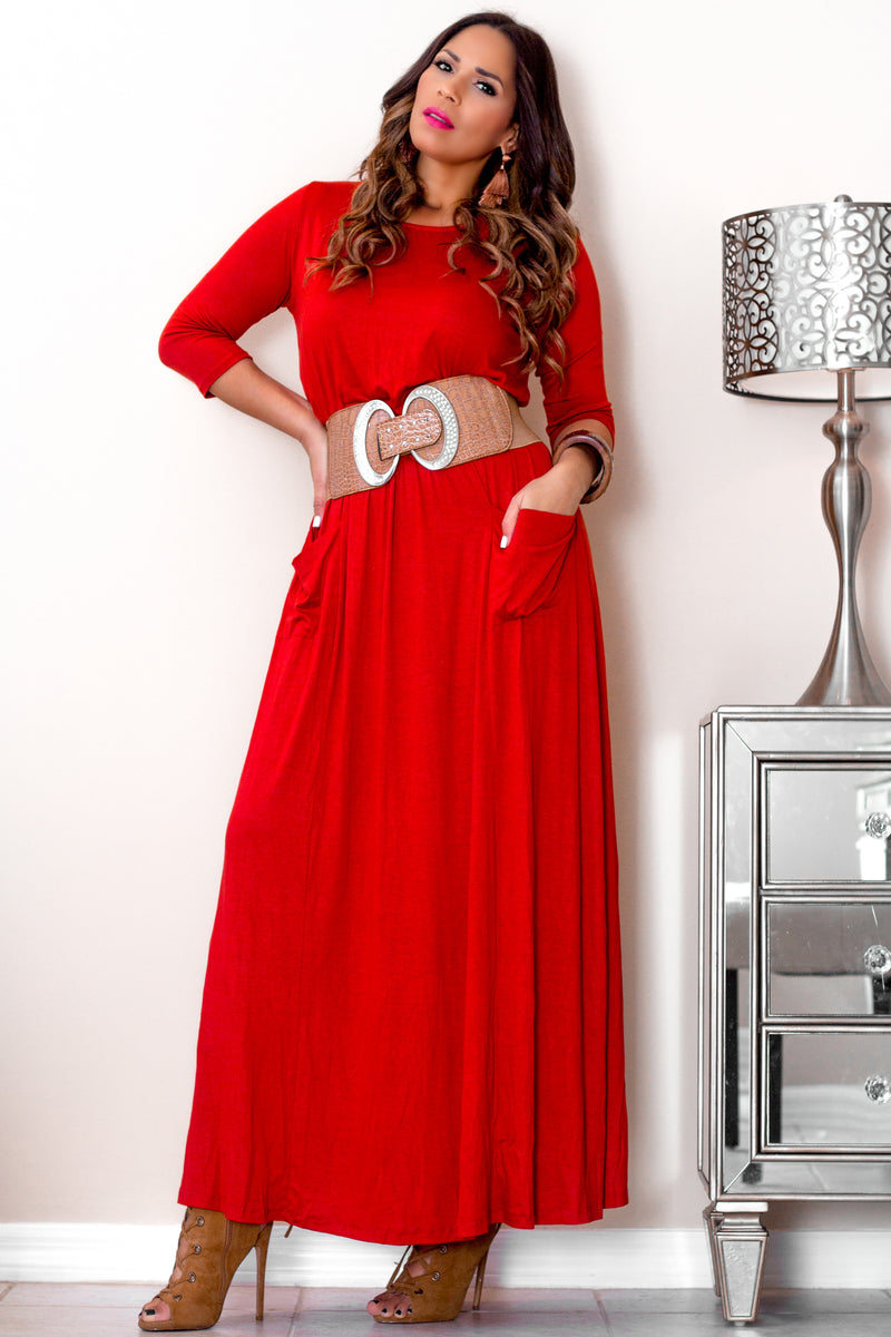 Dalinda Casual Rust Quarter Sleeves Maxi Dress