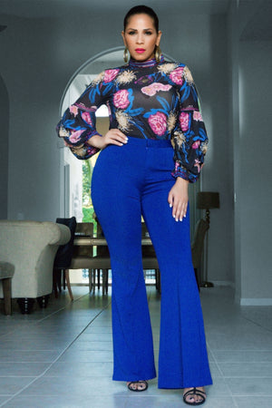 Dallas Sheer Floral Print Long Puffy Sleeves Blouse