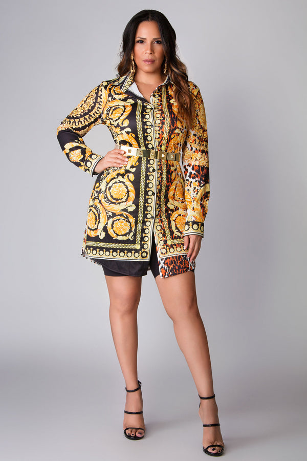 Danna Button Down Long Sleeves Colorful Retro Print Shirt Dress