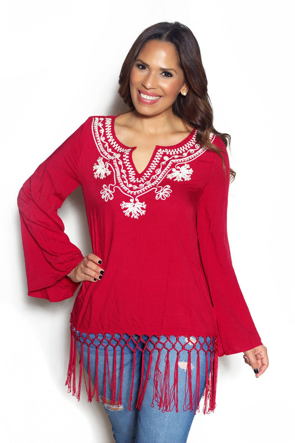 Dark Red Embroidery Detail Fringe Hem Tunic Top - MY SEXY STYLES  - 1
