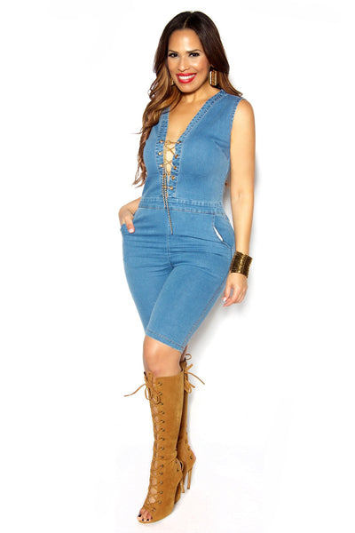 Denim V Neck Knee Length Jumpsuit Chain Lace Up - MY SEXY STYLES
