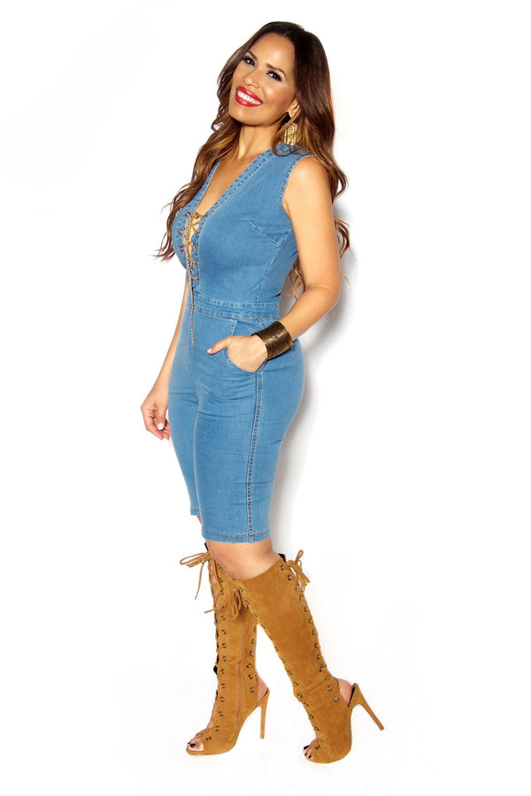 Denim V Neck Knee Length Jumpsuit Chain Lace Up