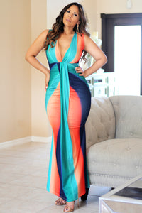 Destiny Tropical Sleeveless V Neck Mermaid Maxi Bodycon Dress Teal