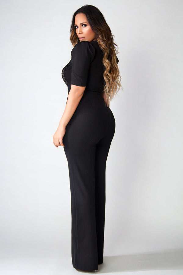 Diamond V-Neck Sophisticated Boutique Jumpsuit