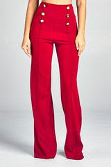 Diana High Waist Pants W/ Gold Button Details