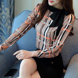Diana Bow tie Grid Print Long Sleeves Shirt
