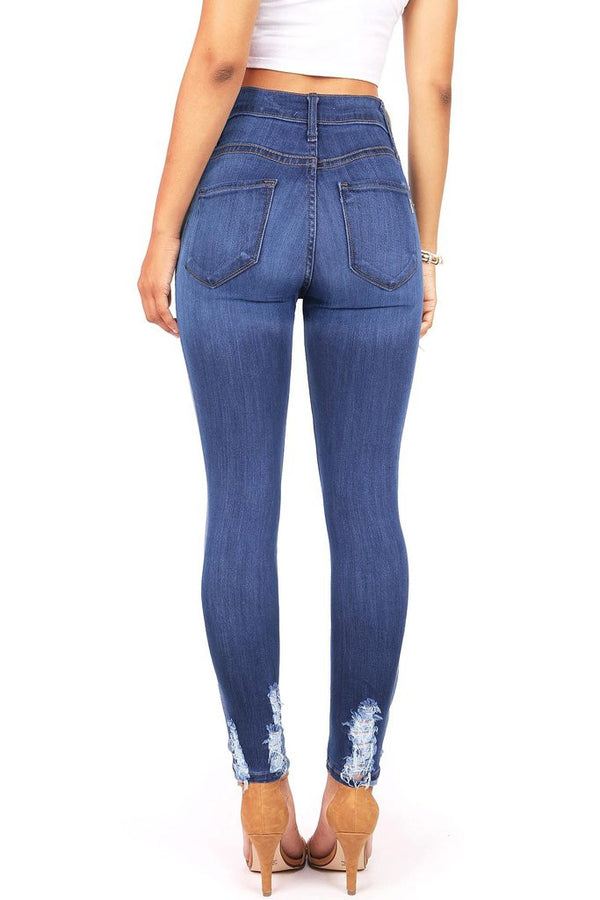 Distressed Slimming High Waisted Stretch Skinny Jeans