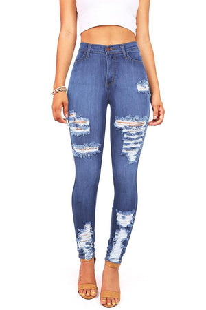 Butt Lifting Effect Distressed Slimming High Waisted Stretch Skinny Jeans - MY SEXY STYLES
