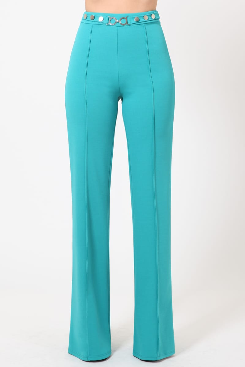 Donatello Teal Classy High Waist Pants W/ Silver Details