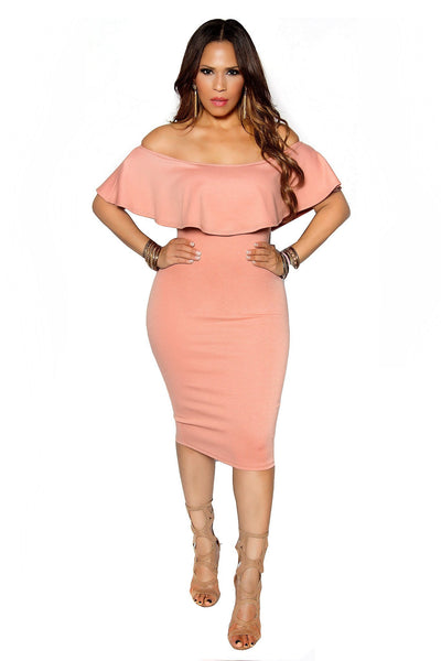 Dusty Peach Bodycon Off Shoulder Ruffle Frill Midi Dress