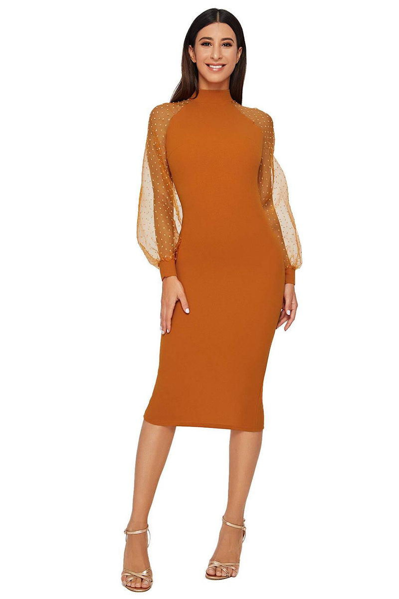 Bethany Mock Neck Mesh Long Sleeves Midi Dress in Chocolate
