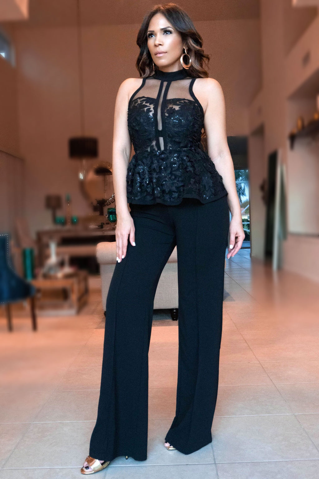 2ae28ab1ec79 Bellance Elegant Black Sequined Flower Mesh Peplum Jumpsuit - MY SEXY STYLES