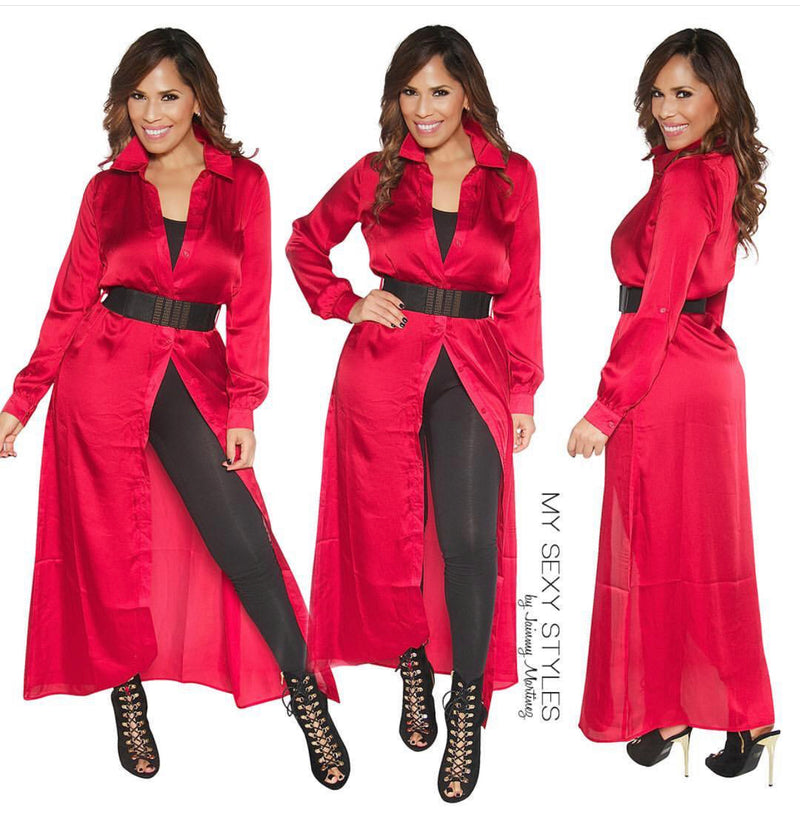 Natalie Red Woven Long Sleeve Button Up Duster Jacket (Includes Belt)