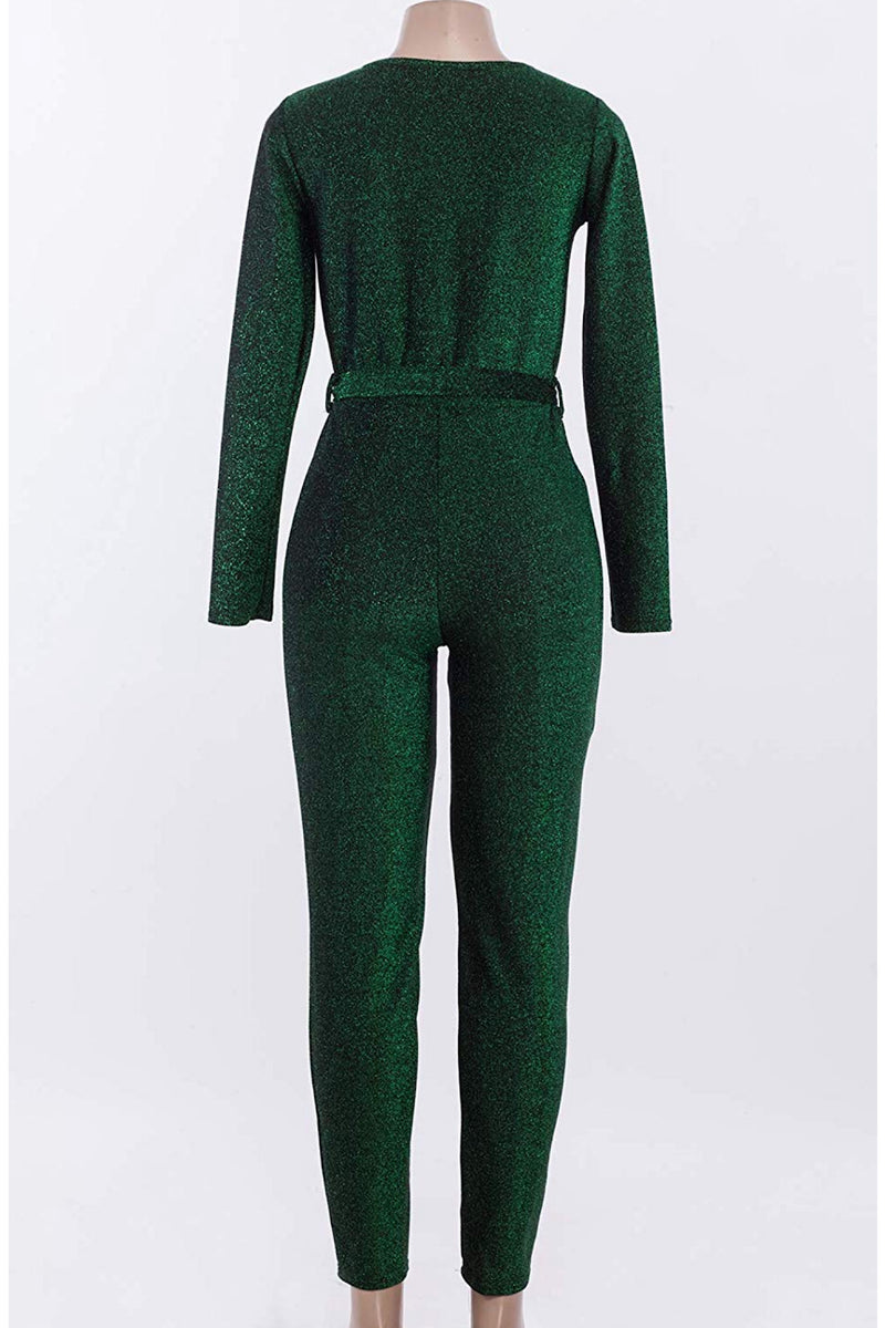 Tina Sexy V Neck Long Sleeves Sparkly Jumpsuit