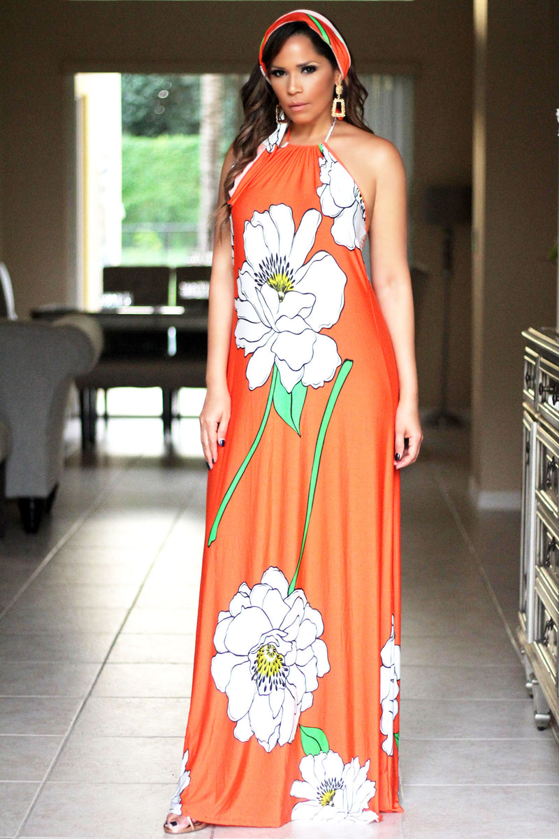 Eden White Flower Print Orange Maxi Dress W/ Headband