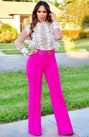 Eleanor Hoop Buckle High Waist Pants - Hot Pink - MY SEXY STYLES