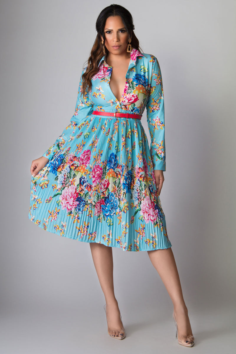 Elliott Floral Print Pleated Skirt Belted Classy Dres