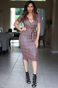 Ember Geometric Print Short Sleeves Bodycon Dress W/ Waist Tie