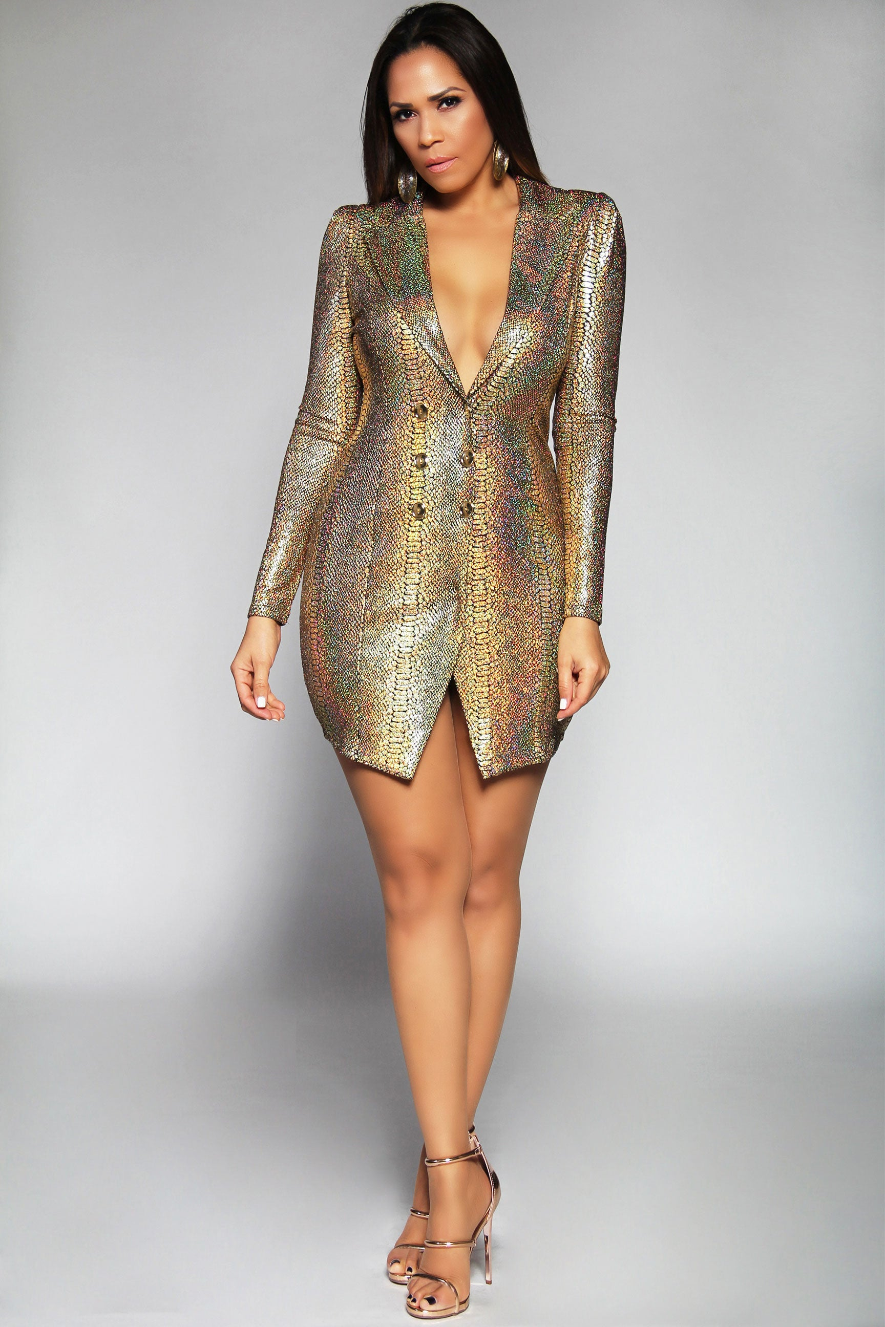 19d532ffc2b8 Emery Gold Metallic Long Sleeve Asymmetrical Blazer Mini Dress ...
