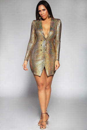 Emery Gold Metallic Long Sleeve Asymmetrical Blazer Mini Dress