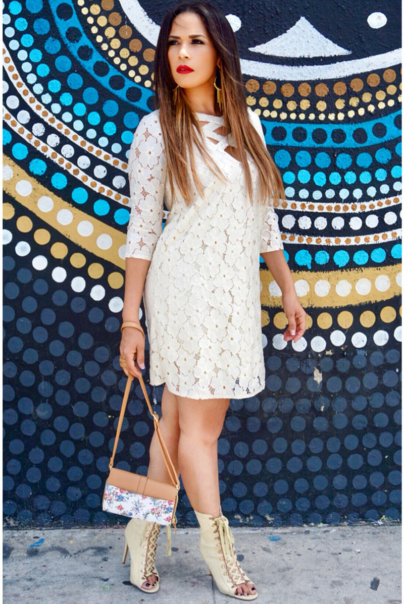 Emilia Ivory Floral Crochet Lace Mini Dress